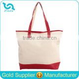 Factory Sale Wholesale Plain Canvas Tote Bag Leather Handle Canvas Tote Bag With Leather Trim