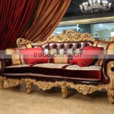 Luxury royal palace design living room furniture set Beech wood living room sofa set                                                                         Quality Choice