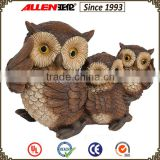 Lifelike hot sale triple owl decoration set 15.4*7.38*11 carved resin concrete garden ornaments