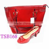 TSB168 ladies shoes and bag,plain red shoes and bags to match,low heel no platform shoes