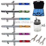 PRO 6X AIRBRUSH SET 22cc Dual Action 0.35mm Aerografo for Cakes Nail Art Body Paint AS-29