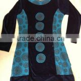 cotton velour print and plane mix fabric dress with print dot price euro 8.5 front viewhe print.