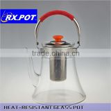 Custom professional heat resistant flower glass tea pot with tea strainer, borosilicate glass 1500p/800p
