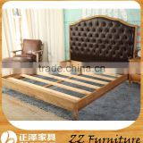 Antique Style Wooden Button Tufted Bed Headboard