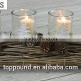 Decoratvie pinecone candle holder with white metal tree and glass cups