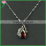 China wholesale garnet zircon jewelry 925 sterling silver teardrop cz stone pendant necklace