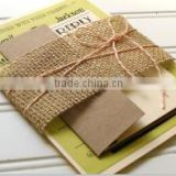2015 elegant wedding invitations with burlap decoration