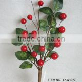 "2015 newest special artificial holly leaf and foam red berry pick 12"" branches pick for chrismas decoration pick"