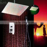 Wholesale 16 inch rainfall shower head set luxury square bathroom accessories rainbow LED water tap mixer faucet light