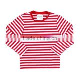 Wholesale 2016 red white strip with red neck trim long sleeve autumn/winter knit cotton boys striped t shirts