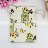 10*14cm Factory Drawstring Bags Linen Spring Butterfly Cotton Bags Wedding Party Candy Christmas Gift Bags