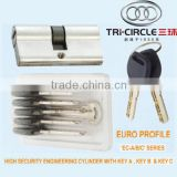"Euro Profile High Security Engineering Quality tri-circle top security cylinder with KEY A B C ""EC-A/B/C"" SERIES"