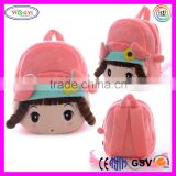 B586 Hot Pink Angel Girl Cartoon Brands Backpack Plush Shoulder Bag Backpack Brands for Teenagers