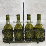 2014 hot sale iron basket candle holders with 4 pcs bottle