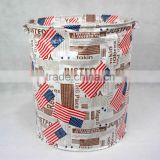 Round style laundry hamper with closing and rope handle, non-woven fabric laundry basket