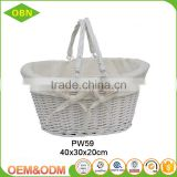Wholesale price white baby hanging wicker basket for gift