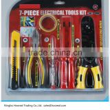 7Pcs Electrical Tools Kit/Milling Tooth Wire Strippers/Diagonal Cutting Plier/ScrewDriver/Cutter Knife/Insulation Tape/Tester