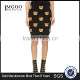 MGOO 2016 New Arrival Women Winter Slinky Skirts Bears Block Print Knitted Women Knee Length Skirts 15144M537