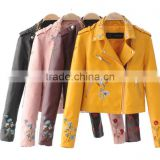 zm50327b autumn and winter new style women clothes embroidery pu coats zipper jacket lady coat
