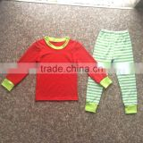 2017 Hot sale white green striped latest style Wholesale underwear children Clothes Knits Girls Kids Cotton childrens Pajamas
