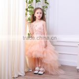 First Communion Dresses For Girls Scoop tailed With Appliques Tulle Ball Gown Princess Pageant Dresses For Little Girls