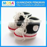 2014 Fashion Crochet Baby Boys Booties Sport Style Blue and White red Trainer Style Lace Up Hand Knitted