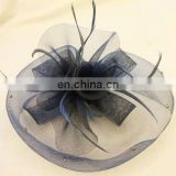 Fashion mini hat with handmade flower and feather hair accessories