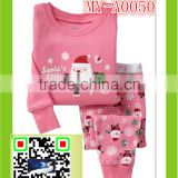 wholesale clothing dubai nightwearing 2-7 year sleepwear Christmas pajamas present Santa clothing set MY-A0050