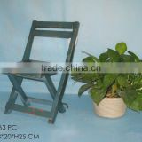 Foldable Antique Green Household Wooden Chair by Hand Make/Dining &Living Room Chair
