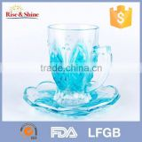 Glass tea cup and saucer wholesale popular than plastic tea cups and saucers bulk