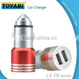 Stainless Steel Dual Port Car Charger for Mobile Phones Safety Hammer Window Broken Quick Charging Portable 2 USB Car Charger