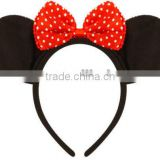 MOUSE EARS & BOW HEADBAND - Fancy Dress Costume Mickey Minnie - Outfit H095