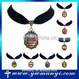 Various kind alloy custom design glass national flag pendant necklace P0008