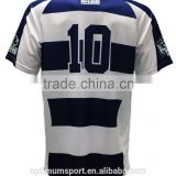 2013 Royal and white striped good-looking custom rugby jersey                                                                         Quality Choice