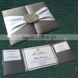silk pocket box invitation with crystal buckle clasp wedding silk folio cards                                                                         Quality Choice