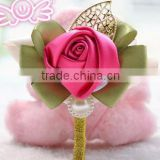 Fashion elegant handmade rose fabric flower brooches pink for wedding invitations