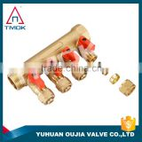 TMOK heat pump system floor heating manifold 2-5 branch/way/outlets/ports NPT brass manifold for pex water pipe