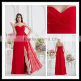 Custom Made Sweetheart A-line Empire Pleated Floor Length Red Chiffon Split Prom Dresses xyy07-051