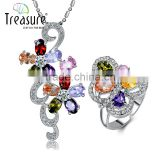 Costume jewelry Beautiful Colored zircon flower-shaped necklace fashion african beads jewelry set