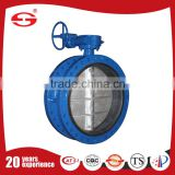 Stainless Steel BS EN593 double eccentric resilient flanged Seated Butterfly Valve