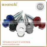 Colored hex painted head self drilling screws with rubber washer roofing screw with washer rubber