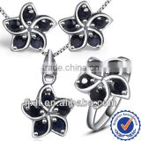 Newest Petal Modeling Natural Sapphire Jewelry Sets, 925 Sterling Silver Fashion Gemstone Jewelry Sets