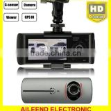 Car HD 2.7 Inch Dual Lens Cameras Dash Cam DVR Video Recorder G-sensor GPS r300 gps dual camera car-dvr