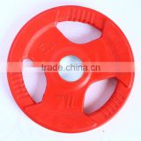 colored tri-grip color cast iron rubber barbell olympic weight plate/caculate steel plate weight