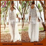 380042 2015 White Lace Sheer Plus Size Beach Kaftan Beach Dress                                                                         Quality Choice