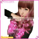 Brown And Rose RedHairpiece Long Curly Wavy Cosplay Costume Wig
