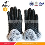 High quality hand leather fashion gloves china manufacturers hand gloves wholesale women rabbit fur hand gloves