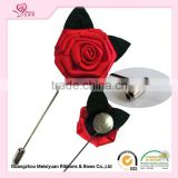 Manufacturer for men's flower lapel pin handmade garment accesories fabric flower hot sales