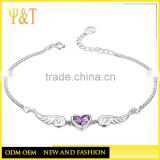Fashion Heart Angel Lover Wings Pure Sterling Silver Bracelets, Chunky Sterling Silver Purple Crystal Bracelet s(AB-012)
