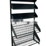 Custom wholesale floor 5 tier floor potato chip display stand/metal wire display rack/food display rack